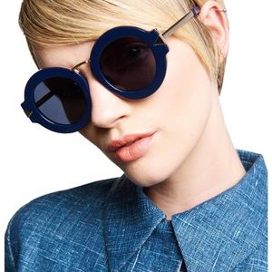 Karen Walker Maze 47mm Navy Round Sunglasses